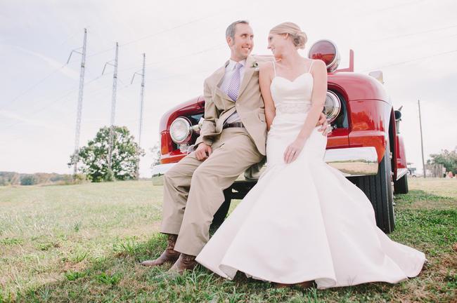 Purple and Cream Gingham Farm wedding // Audra Starr