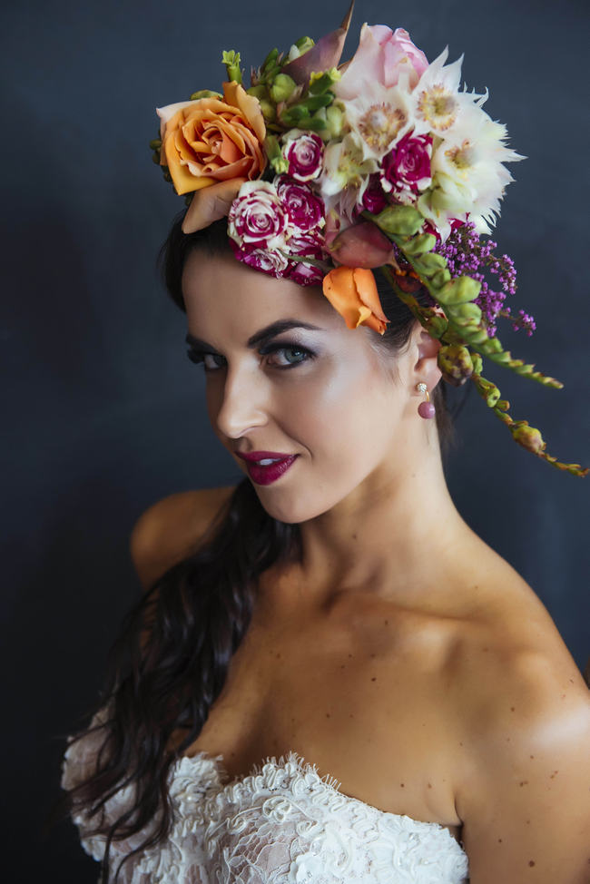 Bright Yellow, Pink and Green Floral headpiece // // Claire Thompson photography