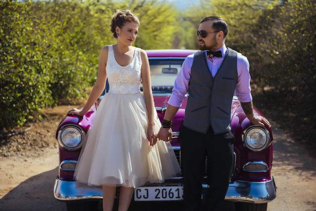 Short Tulle Wedding Dress // Rockabilly Wedding Ideas // Claire Thompson photography