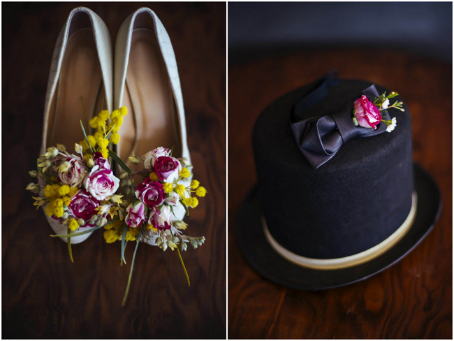 Wedding shoes with real flowers // Rockabilly Wedding Ideas // Claire Thompson photography