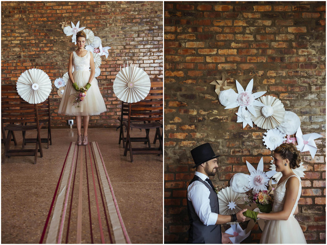 DIY Paper Wedding Ceremony Wall Backdrop // Rockabilly Wedding Ideas // Claire Thompson photography