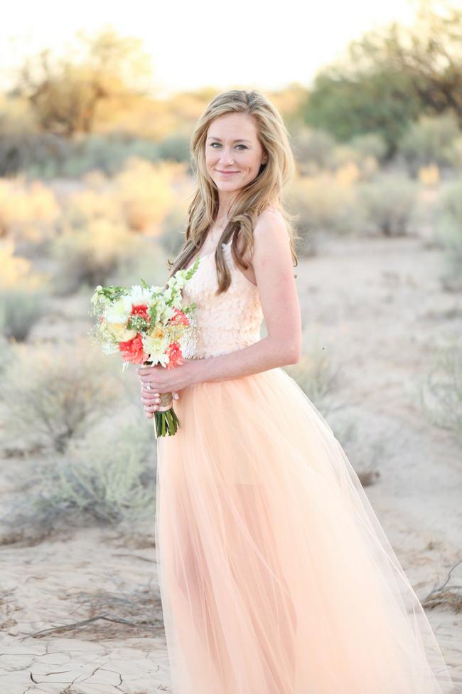 DIY Peach Tulle Dress // Whimsical Arizona Desert Engagement Shoot // Morgan McLane Photography