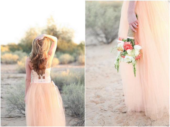 Handmade Peach Garden Weddding Bouquet and handmade Tulle Dress