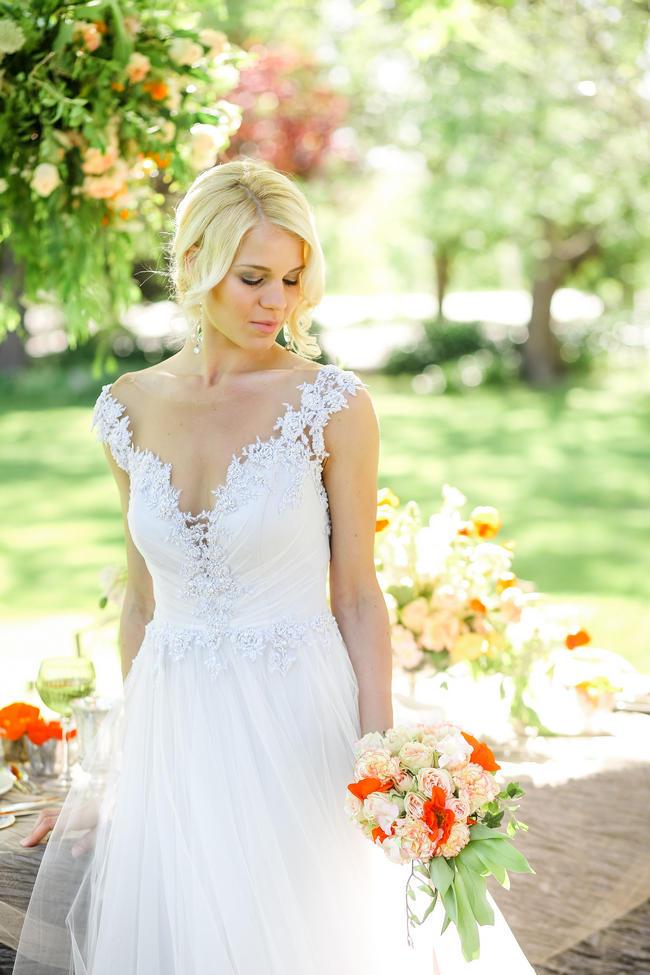 Whimsical Garden Wedding Peach Grey / Nikki Meyer Photo