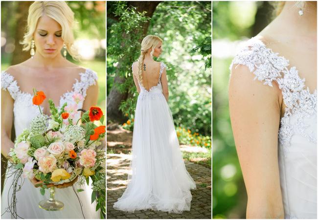 Whimsical Garden Wedding Peach Silver Grey (4)