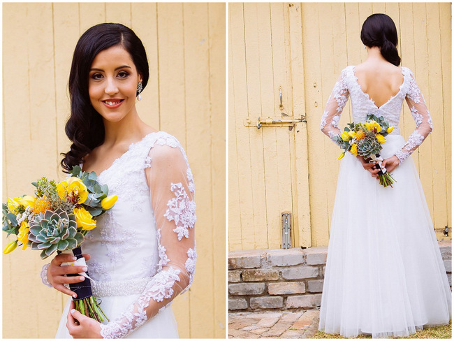 Yellow succulent Bouquet long sleeved lace wedding dressand