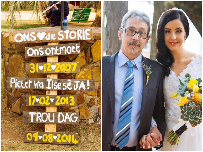 Afrikaans Wedding Sign // Yellow and Grey DIY Vintage Wedding // Miracles Photo