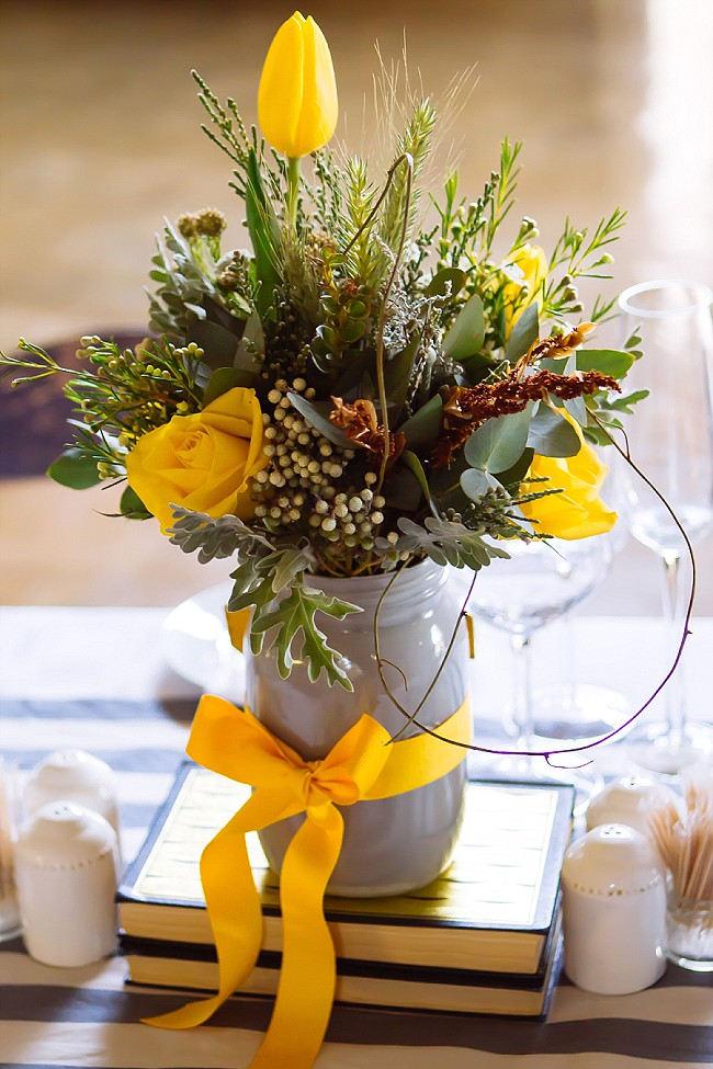 Painted Mason Jar and yellow ribbon // Yellow and Grey DIY Vintage Wedding // Miracles Photo