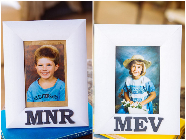 Bride and groom childhood photographs // Yellow and Grey DIY Vintage Wedding // Miracles Photo