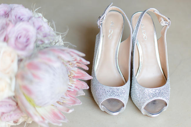 Pink king Protea and glitter wedding shoes