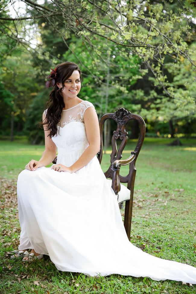 Loose, long waves and a Robyn Roberts wedding dress with sheer, illusion neckline perfect for a Rustic Garden Picnic Wedding // Nikki Meyer Photography