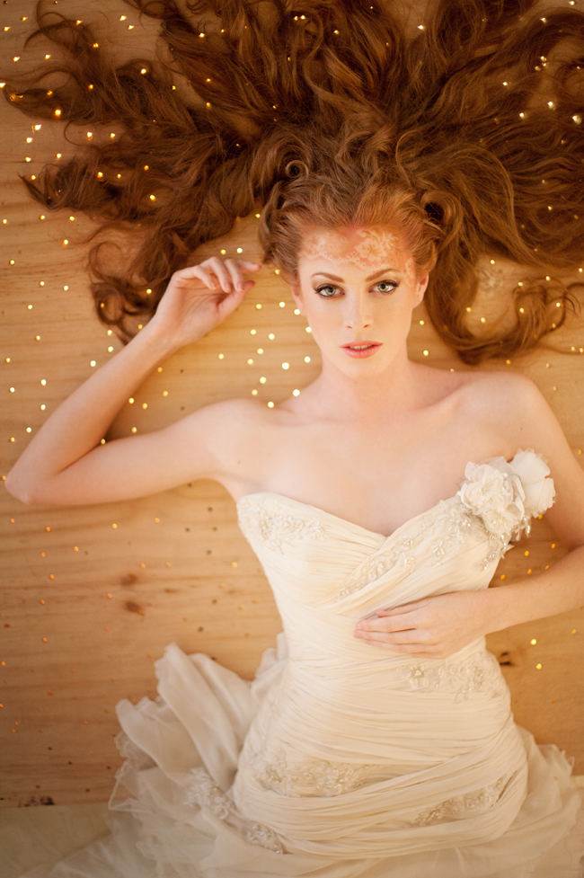 Delicately airbrushed lace tattoo blends perfectly with her strawberry blonde locks! See more Blush Gold Whimsical Wedding Ideas by St Photography by clicking.
