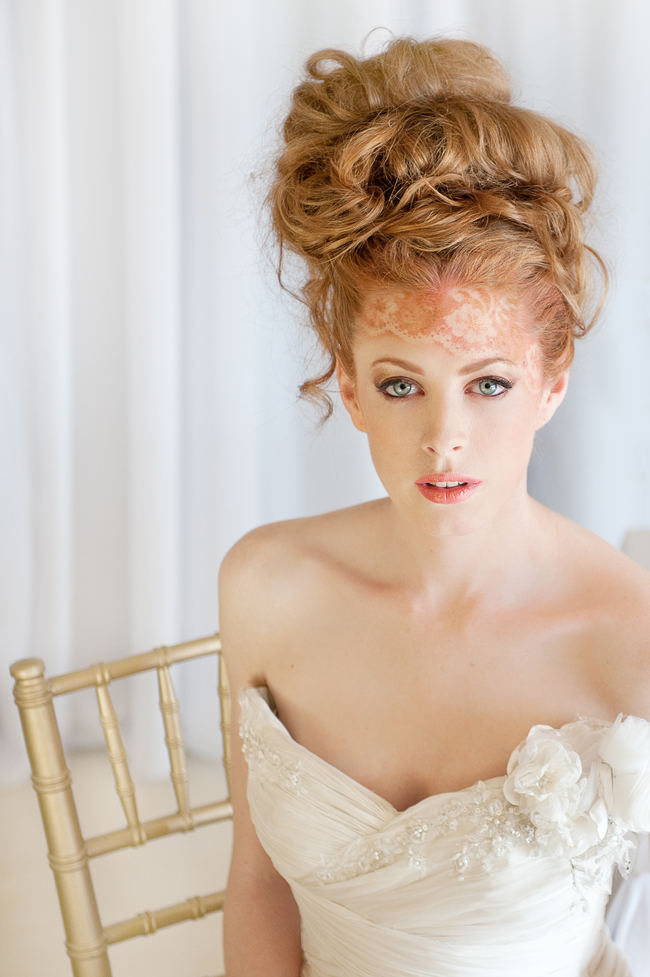 Delicately airbrushed lace tattoo blends perfectly with her strawberry blonde locks styled in gorgeous romantic wedding updo hairstyle! See more Blush Gold Whimsical Wedding Ideas by St Photography by clicking.
