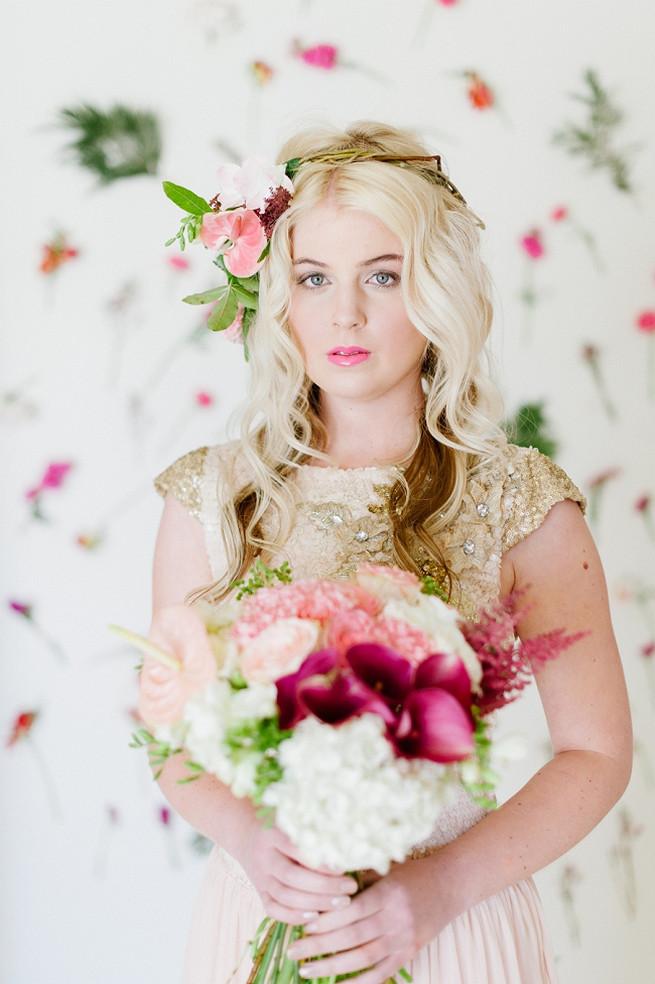 Blush Pink Gold Wedding Dress (15)