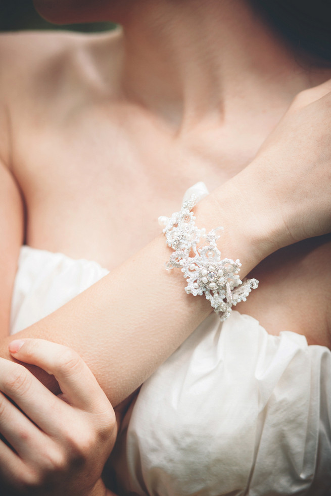 Handrafted cuff bracelet with silk crystal and pearls. Luxe Handcrafted Heirloom Wedding Jewelry by Edera Jewelry // La Candella Weddings Photography