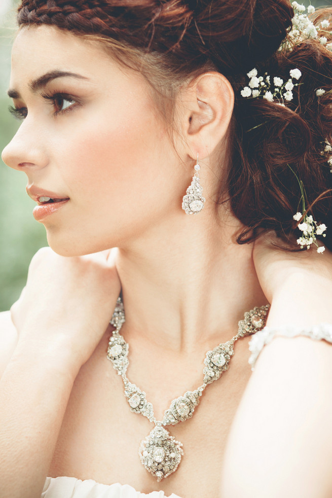 Pearl And Lace Necklace Earrings Luxe Handcrafted Heirloom Wedding Jewelry By Edera