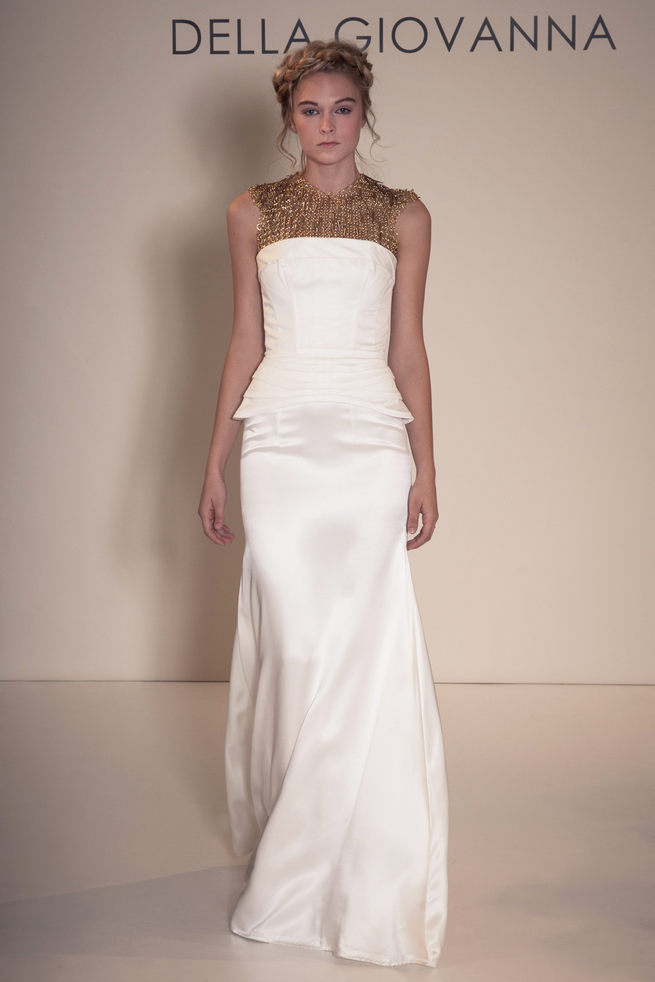 Gold chainmail top with long white skirt: Della Giovanna Wedding Dresses