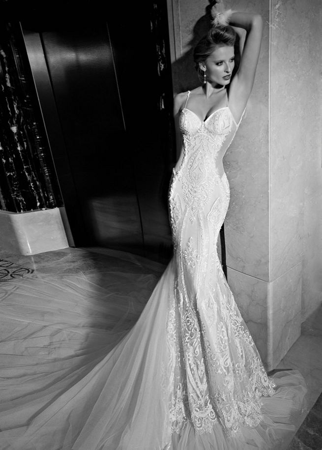 NEW Galia Lahav 2015 Wedding Dress: The Greta Garbo Wedding Dress is an art deco gown with blush and ivory details, embroidered with organic art deco motifs and sparkly sheer back detail. Along the multi-layered silk tulle train of the gown are large medallions of embroidered gems, iridescent sequins and pearls. The skirt of the gown is finished in a ruffled bi-colored silk tulle.