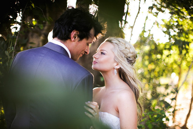 Wedding braid. Groom in grey suit with grey tie. Green White Rustic South African Wedding // Justin Davis Photography