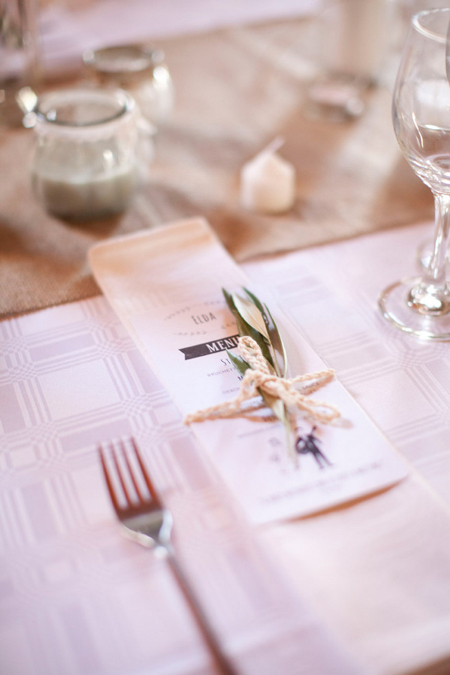 Place setting. Green White Rustic South African Wedding // Justin Davis Photography