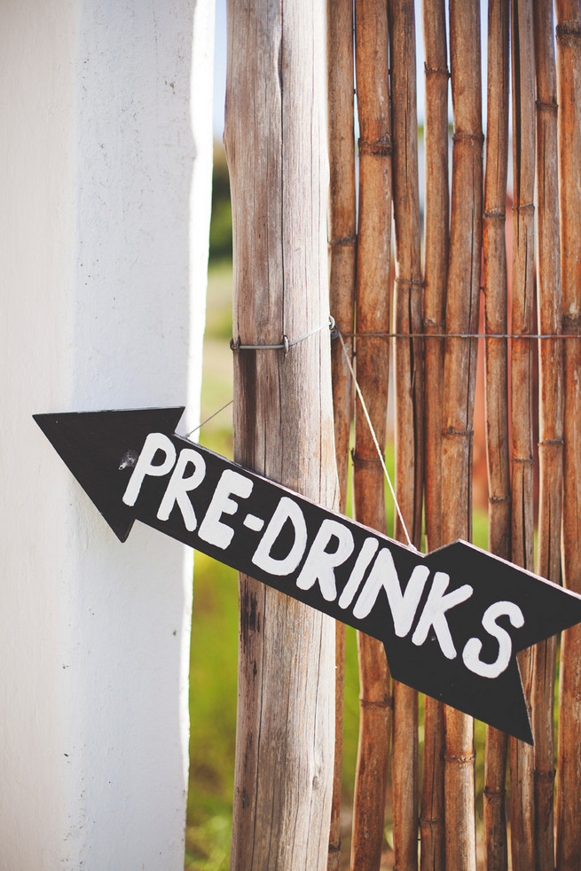 Pre Drinks chalkboard sign. Green White Rustic South African Wedding // Justin Davis Photography