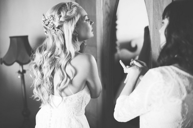 Long wedding hairstyle with braid. Green White Rustic South African Wedding // Justin Davis Photography
