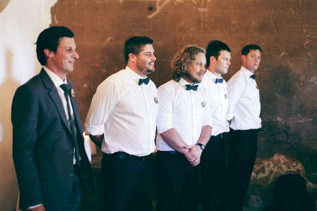 Groomsmen with bowties. Green White Rustic South African Wedding // Justin Davis Photography