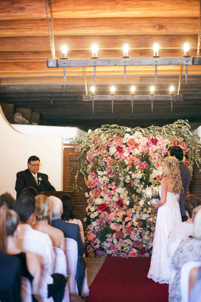 Love this backdrop! Groom in grey suit with grey tie. Green White Rustic South African Wedding // Justin Davis Photography