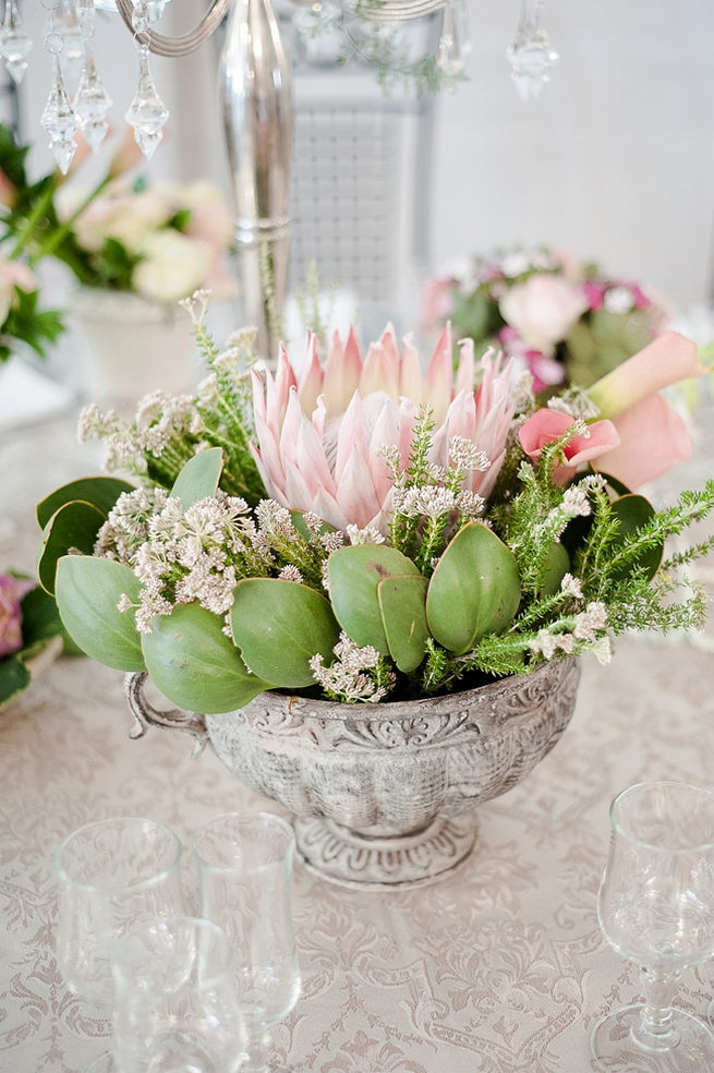 Wedding flower table arrangement: King Protea and greens in a vintage grey urn displayed on tables. Blush Pink and Powder Blue Spring Wedding // D'amor Photography