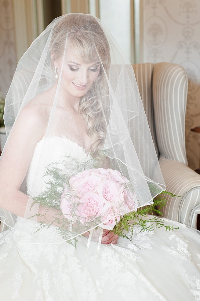 Long, loose wedding curls, blush pink Peony bouquet and gorgeous tulle Enzoani bridal gown - pure perfection! // D'amor Photography