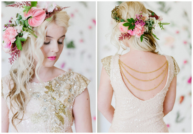 Soft Pink and Gold Wedding Dress Inspiration {Debbie Lourens Photography}