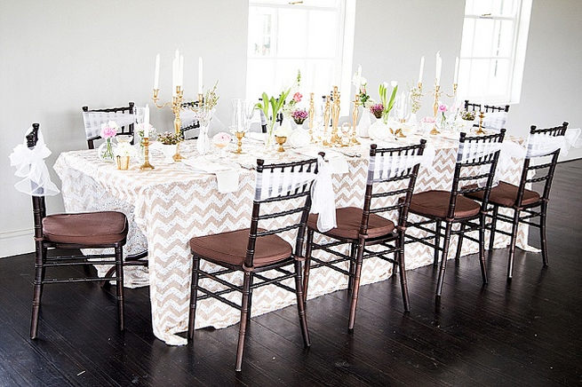 Gold glitter chevron wedding table cloth tablescape. Soft Pink and Gold Wedding by Samanatha Jackson Photo