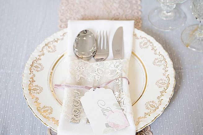 Gold and cream vintage place setting / Soft Pink and Gold Wedding by Samanatha Jackson Photo