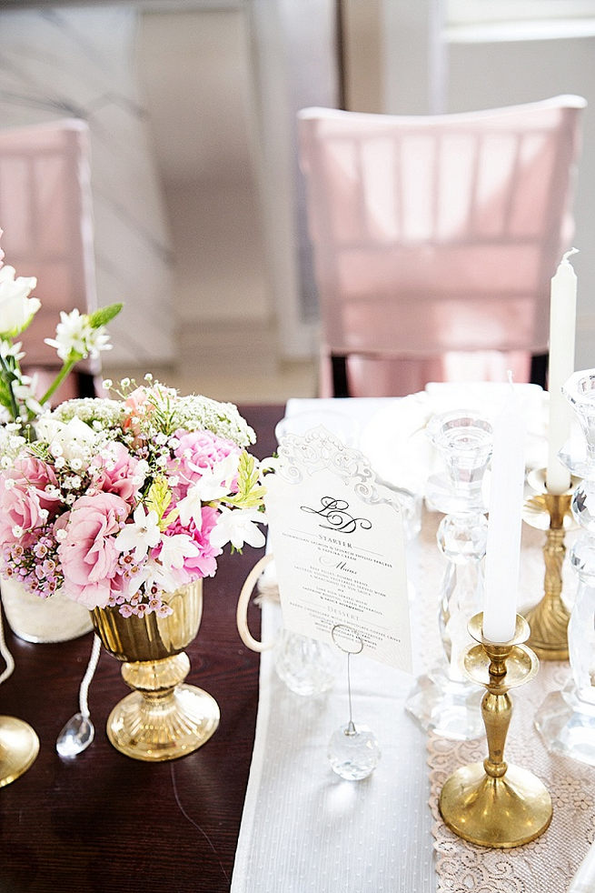 Wedding tablescape with gold vases and blush pink flowers Soft Pink and Gold Wedding by Samanatha Jackson Photo