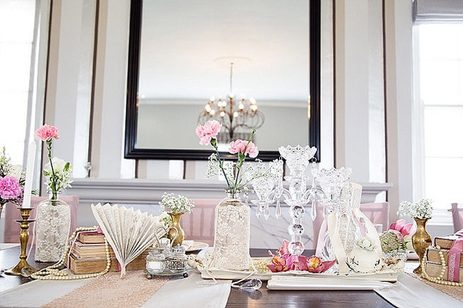 Vintage tablescape. Soft Pink and Gold Wedding by Samanatha Jackson Photo