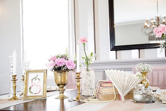 Gold and pink vintage inspired table decor for wedding. Soft Pink and Gold Wedding by Samanatha Jackson Photo