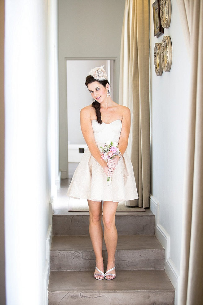 Short sweetheart wedding dress with vintage hairpiece and cute shoes! Soft Pink and Gold Wedding by Samanatha Jackson Photo