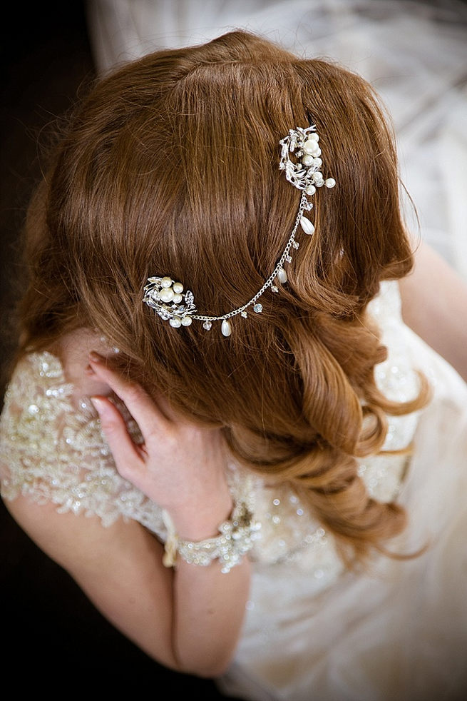 Luxurious wedding hair piece chain with vintage detail. Soft Pink and Gold Wedding by Samanatha Jackson Photo