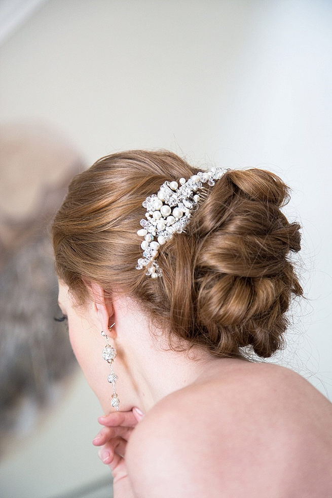 Elegant wedding hairstyle - bridal chignon with a lovely vintage hair comb accessory. Soft Pink and Gold Wedding by Samanatha Jackson Photo