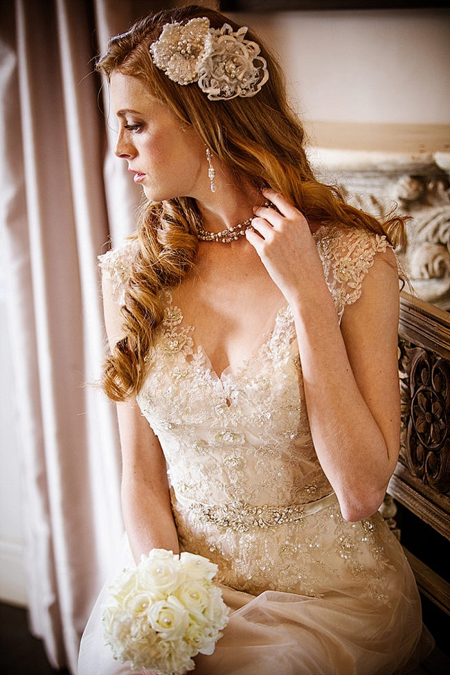 Embroidered vintage style lace wedding dress with detailed sleeves. Soft Pink and Gold Wedding by Samanatha Jackson Photo