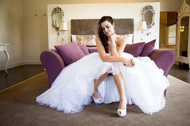 Stunning wedding dress with Anella Wedding Shoes. Soft Pink and Gold Wedding by Samanatha Jackson Photo