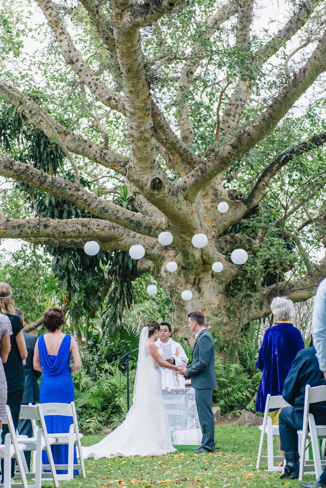 Wedding Ceremony Under A Gorgeous Old Tree With White Chinese Lanterns Succulent Garden