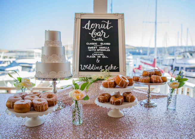 Glitter tablescloth from Napa Valley Linens, A Spoonful of Sugar Cakes, Elegant Gray Blue Nautical Wedding by Rachel Capil Photography and Lindsay Lauren Events