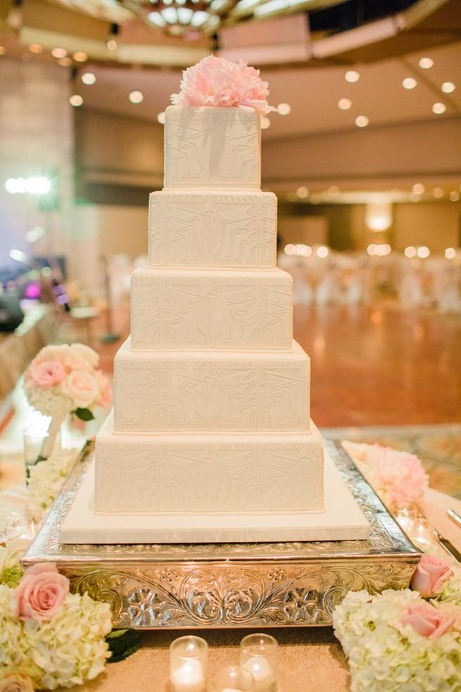 Classic, chic, white wedding cake.  Glamorous Gatsby Inspired Wedding by Elyse Hall Photography