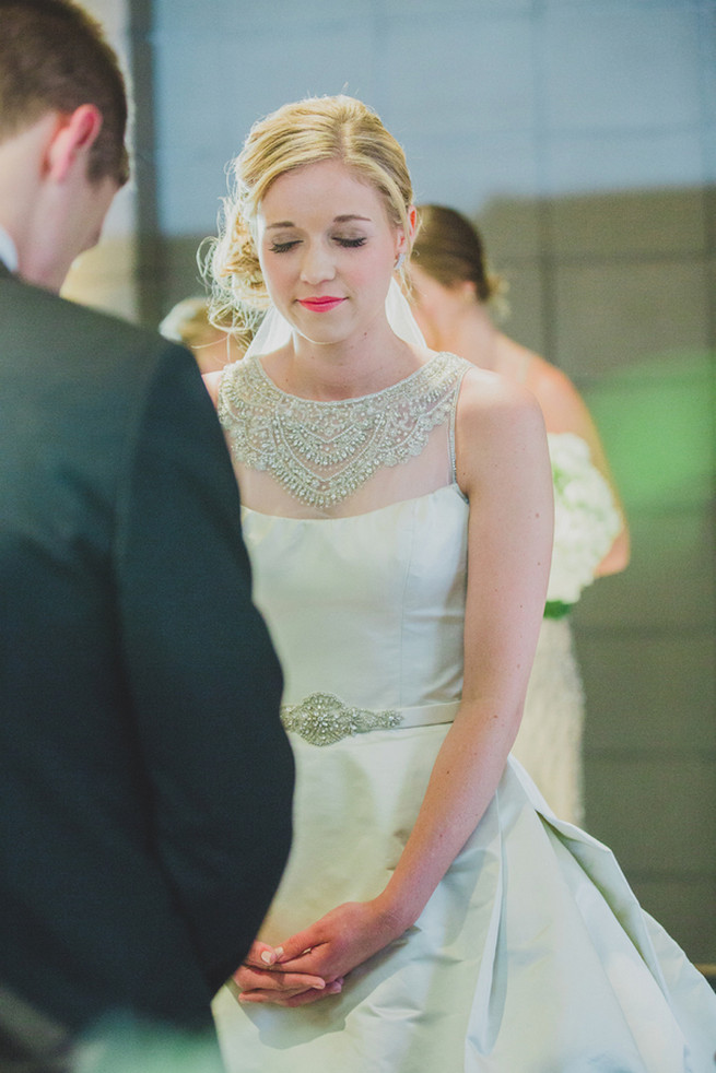 Love the statement back and neck on her Victor Harper gown - so perfect for a subtle but sparkly 1920s wedding soiree! Glamorous Gatsby Inspired Wedding by Elyse Hall Photography