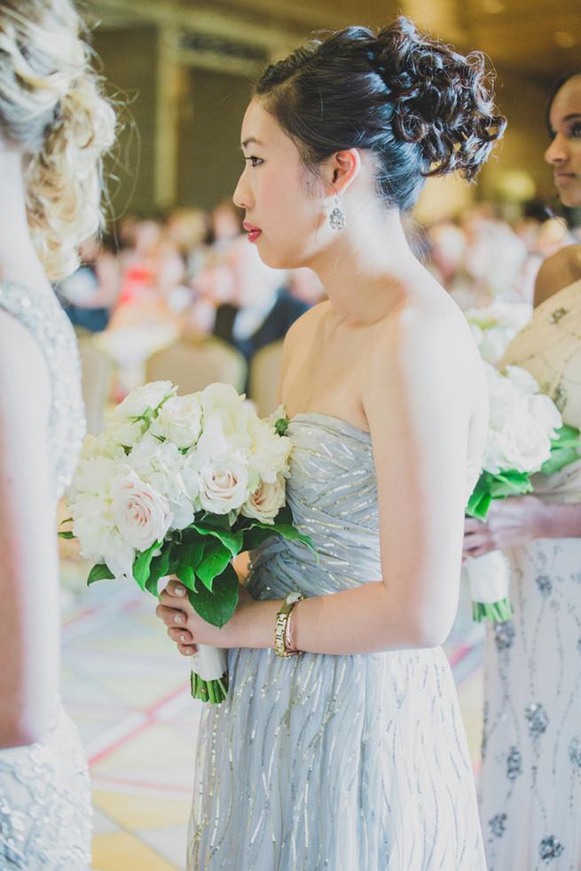 Stunning art deco style silver grey bridesmaid dress. Glamorous Gatsby Inspired Wedding by Elyse Hall Photography