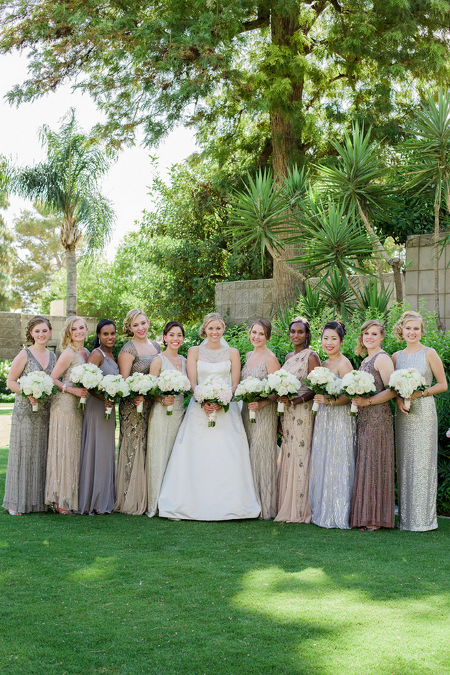 Silver, gray, and pewter bridesmaid dresses. Glamorous Gatsby Inspired Wedding by Elyse Hall Photography - Confetti Daydreams Wedding Blog