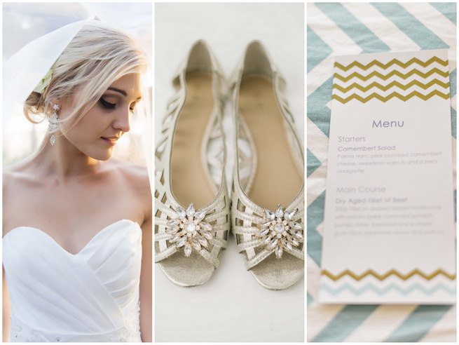 White & Gold DIY Chevron Wedding {Claire Thomson Photography}