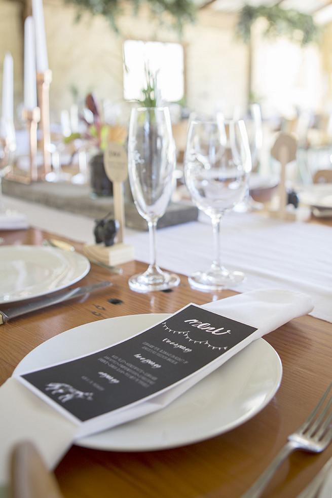 Printed chalkboard style wedding menues // // Organic Farm Style Karoo Wedding // christine Le Roux Photography