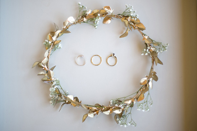 Gold flower crown with babys breath // Organic Farm Style Karoo Wedding // christine Le Roux Photography